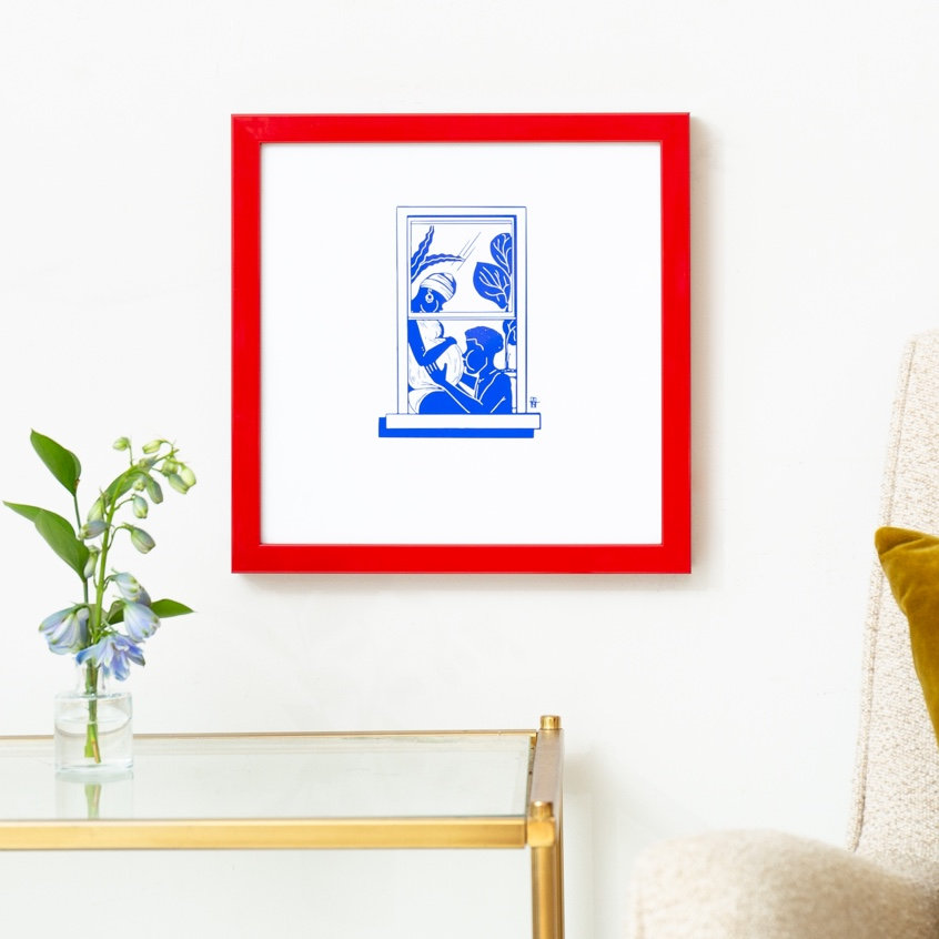 Framebridge Black Artists Print Shop Adrian Brandon Brooklyn Window: #033 framed print in red gallery frame
