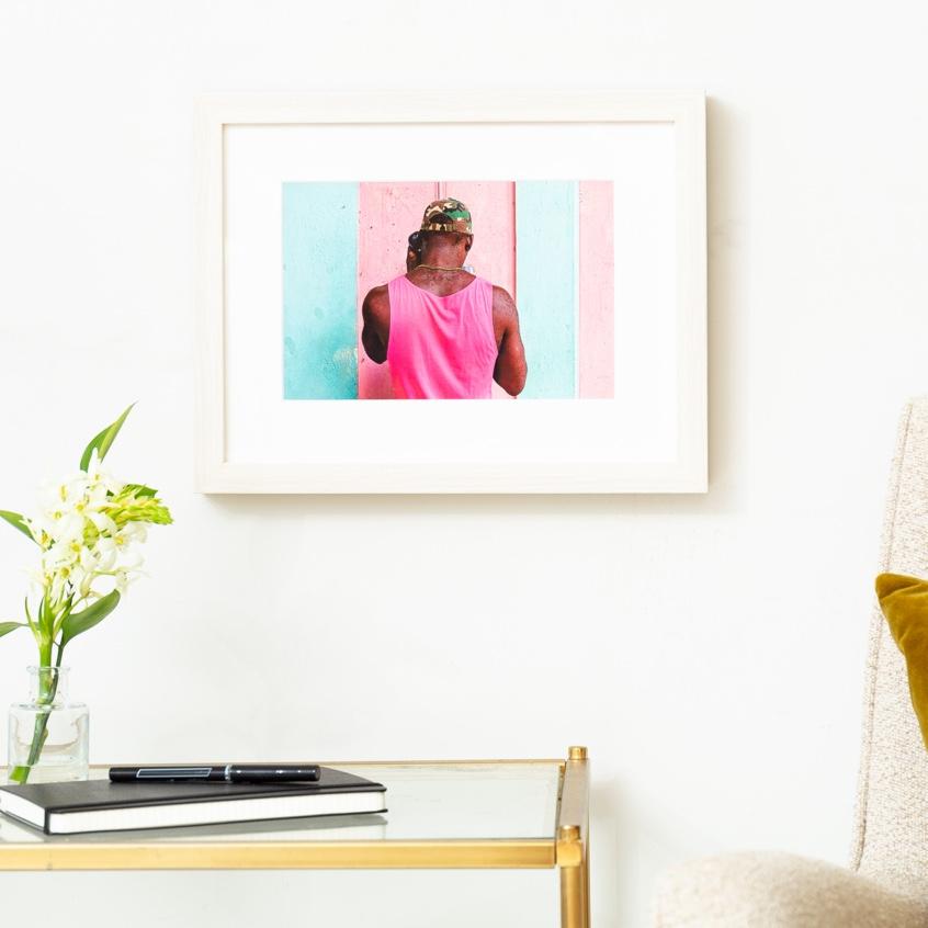 Framebridge Black Artists Print Shop Kirth Bobb Man on Phone framed print