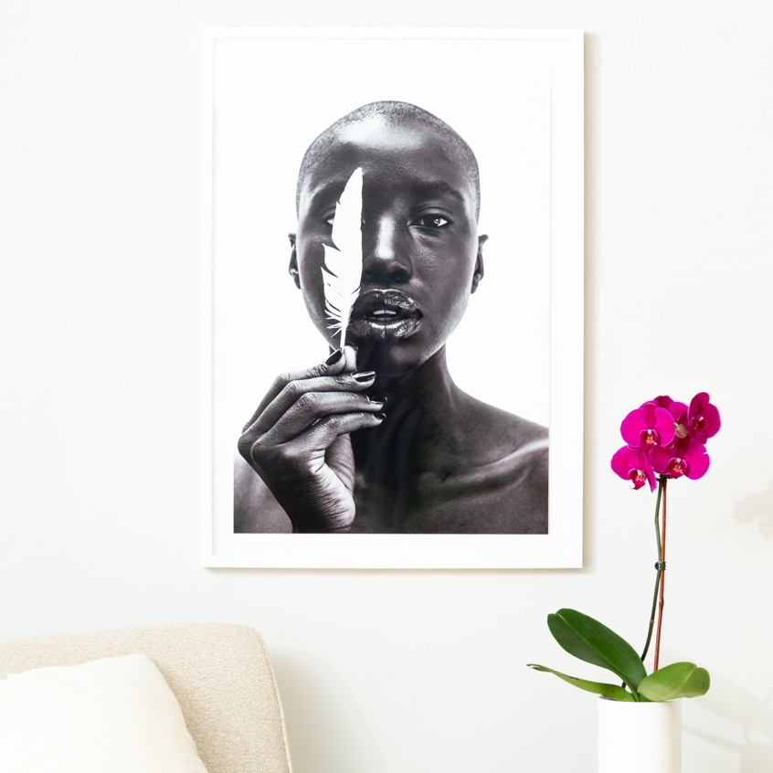 Framebridge Black Artists Print Shop Gregory Prescott White Feather framed print white gallery frame