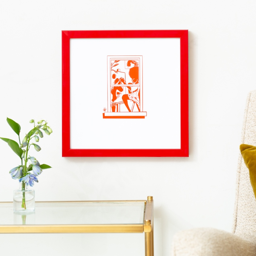 Framebridge Black Artists Print Shop Adrian Brandon Brooklyn Window: #015 framed print in red gallery frame