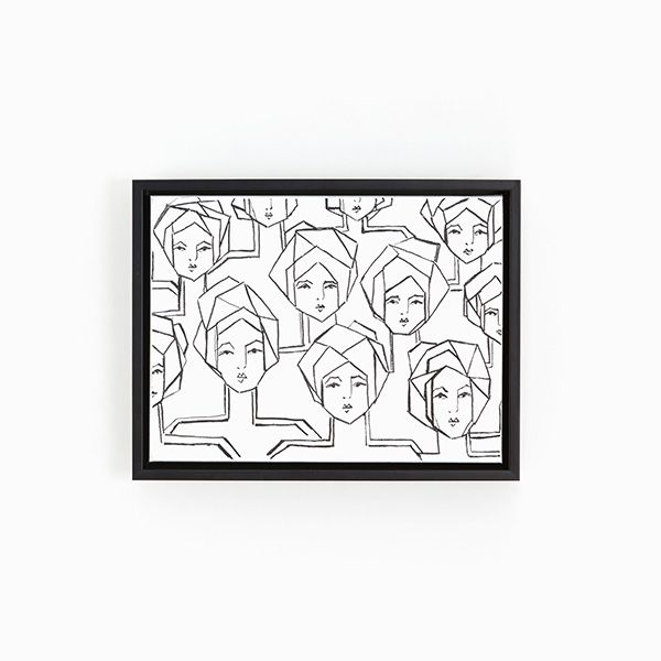 Canvas floater frame black and white