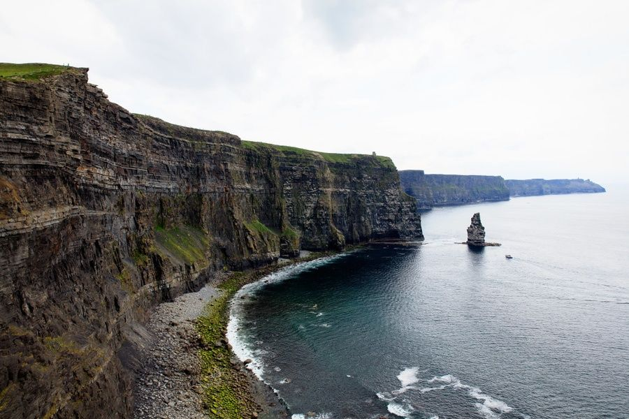 Seeing the Cliffs of Moher from below is a cool thing to do in Ireland