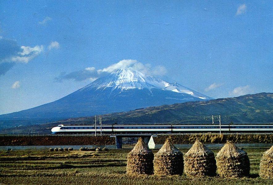 Mt fuji bullet train in Japan