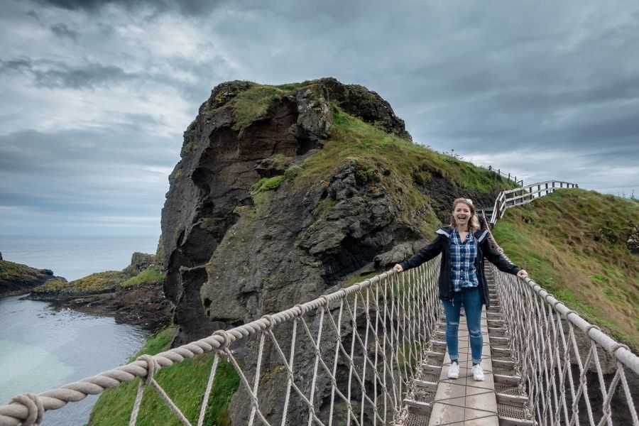 Crossing Carrick-a-Rede Rope bridge is one of the best things to do in Northern Ireland