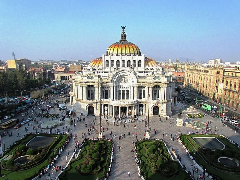 The beautiful Palacio de Bellas Artes is in the historic center of Mexico City