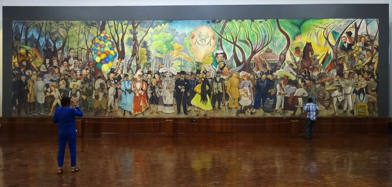 A colorful thing to do in Mexico City is enjoy Diego Rivera's murals