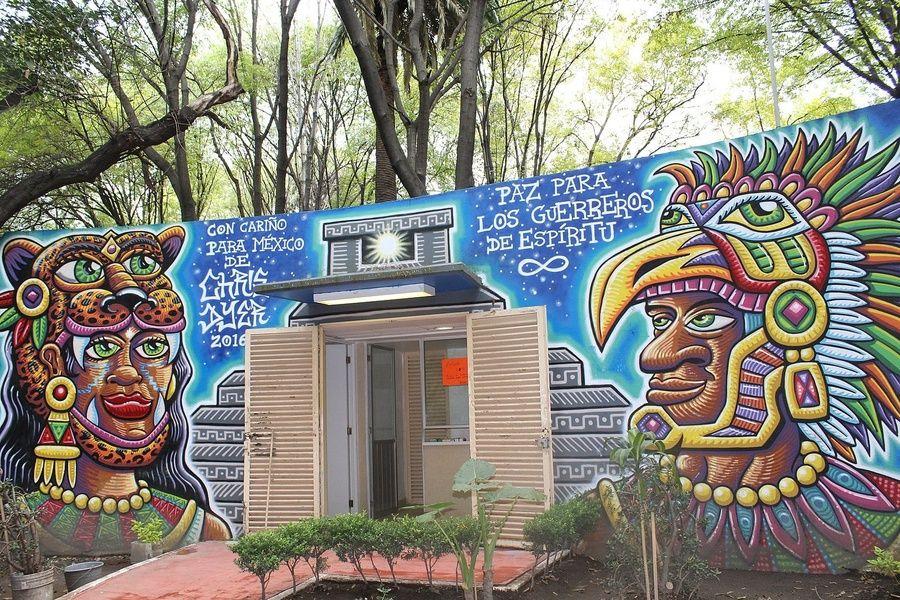 Graffiti in Parque Mexico in Mexico City