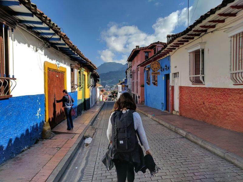 Solo female traveler in La Candelaria, Bogota, Colombia