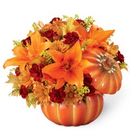 Thanksgiving flowers centerpieces orange lily pumpkin centerpiece