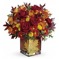 Thanksgiving flowers centerpieces red roses flower gold leaf thanksgiving centerpiece