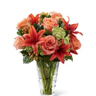 Thanksgiving flowers centerpieces light orange rose and lily thanksgiving centerpiece