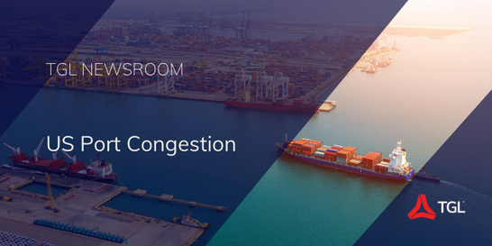 US Port Congestion Title Image Sea Freight Anchored Ship