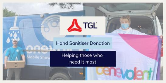 TGL hand sanitiser donation to charities around Australia