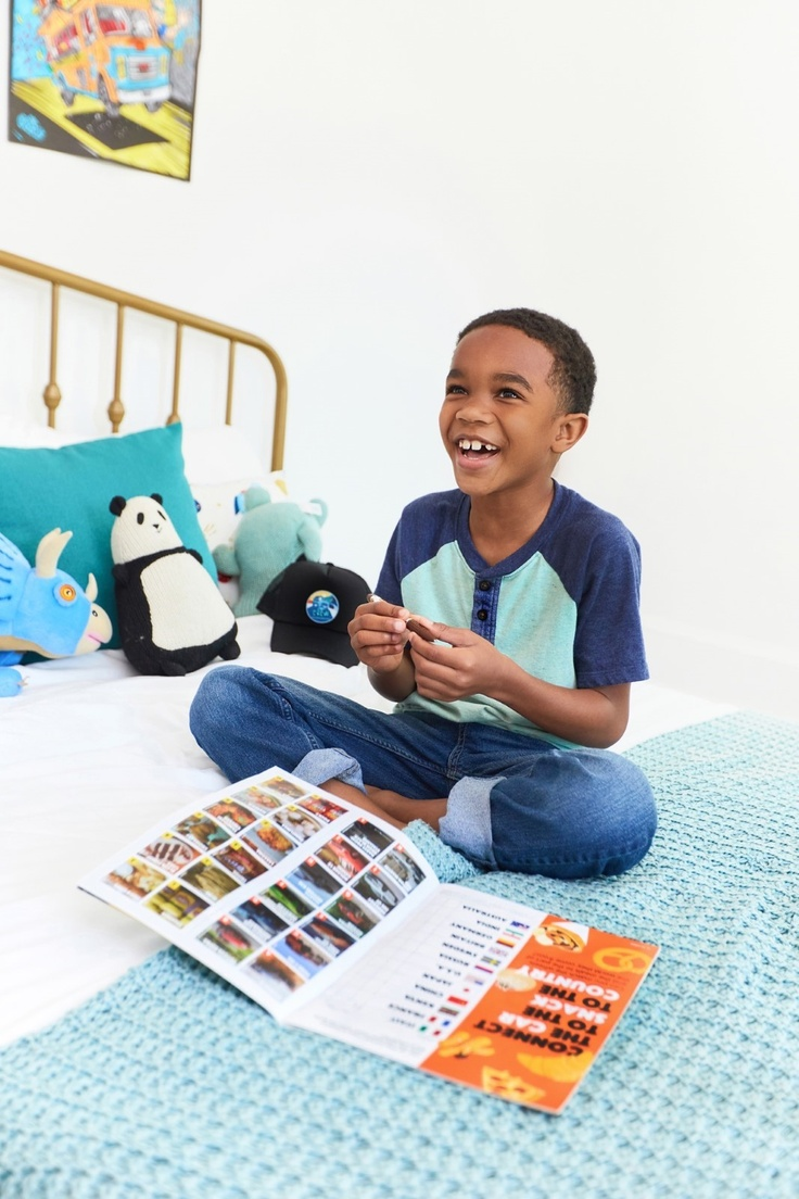 kid playing with subscription box