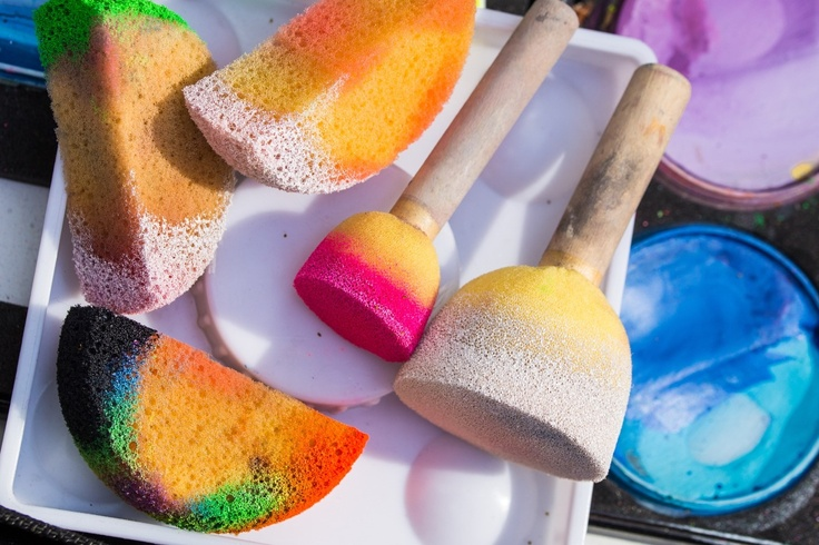 sponges covered in paint
