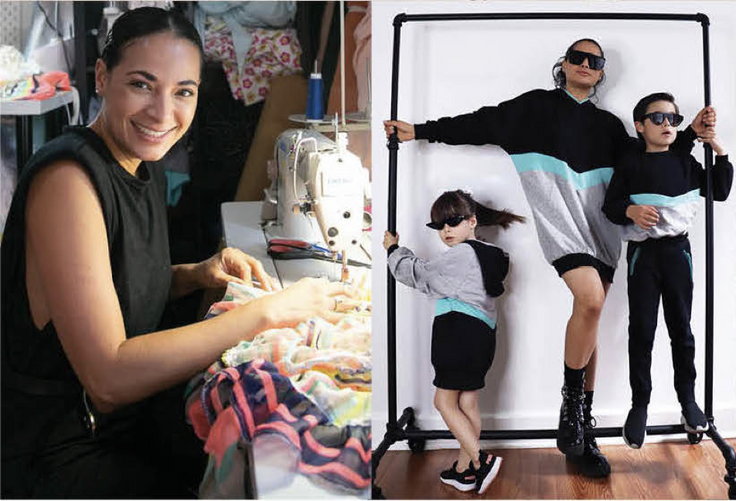 fashion designer sewing and her two kids