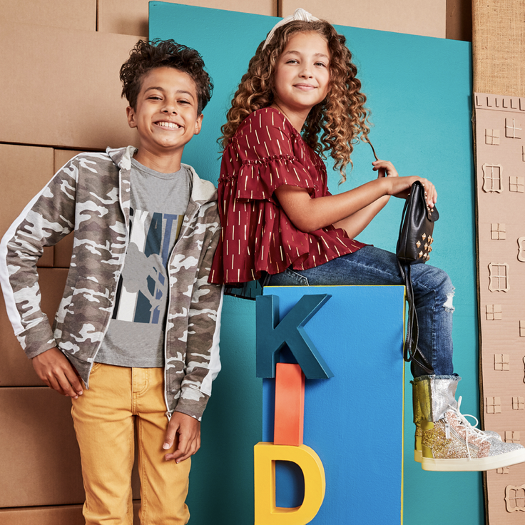 Kids in clothing subscription outfits