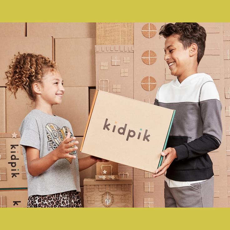 Boy and girl with kidpik clothing box