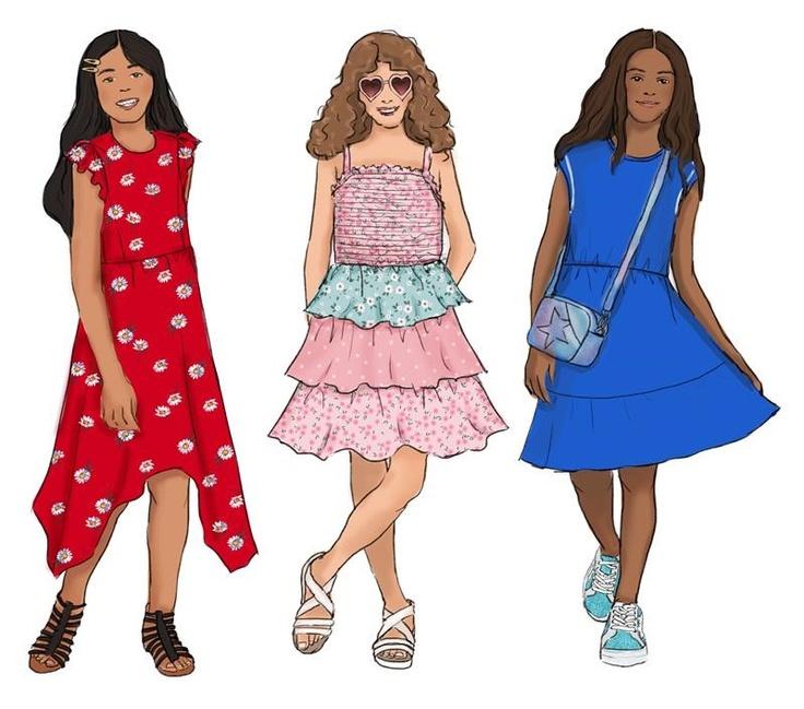 illustration of girls in kids dresses