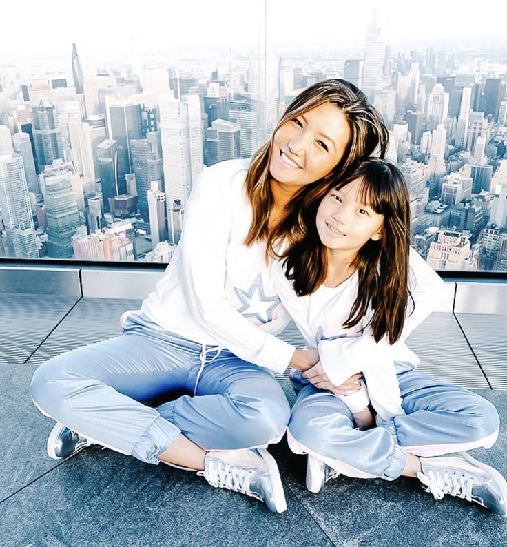 mom and daughter wearing kids subscription clothes