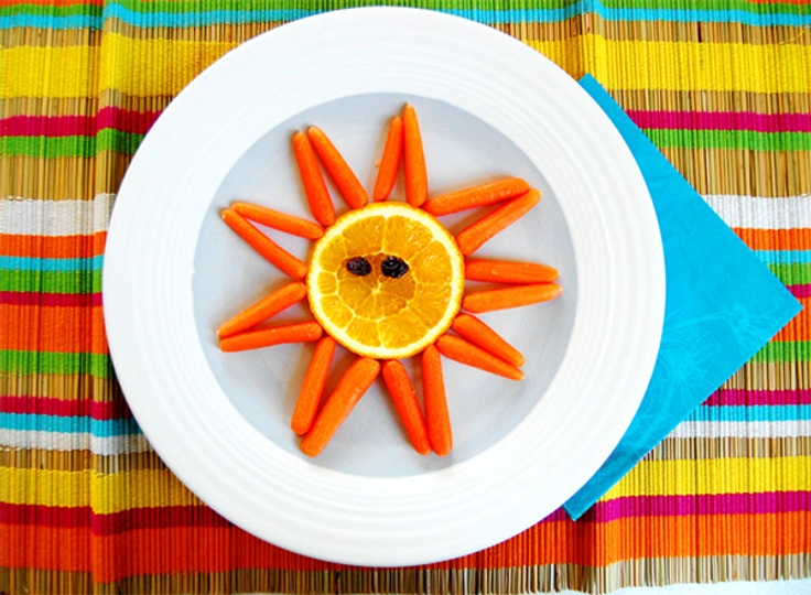 Carrots and oranges that look like a sun