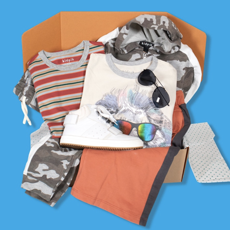 subscription box laydown for boys clothes