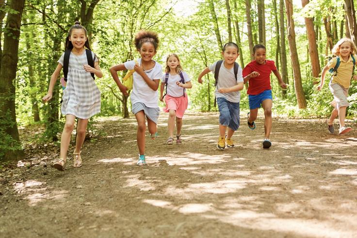 Kids running through the woods
