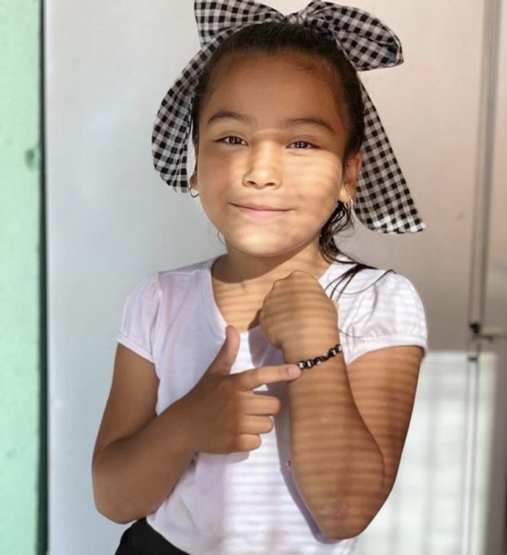 Girl with friendship bracelet