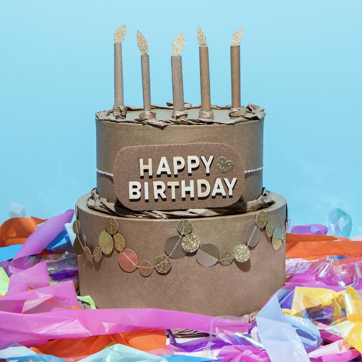 "Cardboard cake for wishing ""Happy Birthday"""