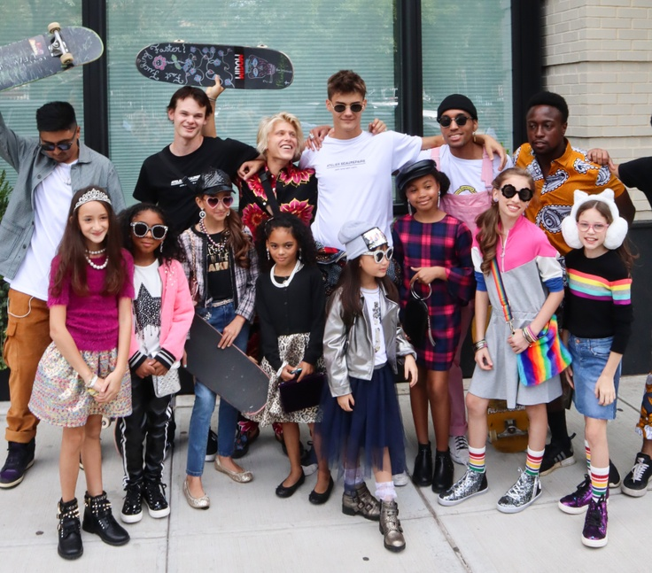 Group of kids with fashionable outfits
