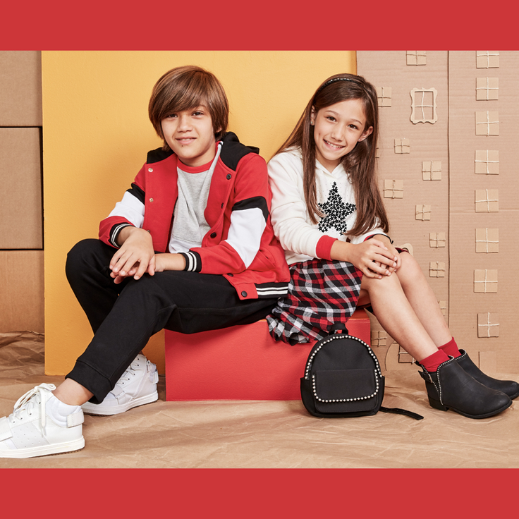 boy and girl in personalized outfits