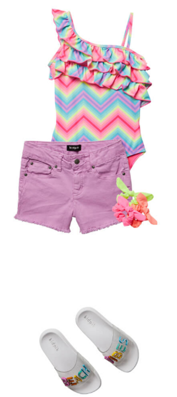 colored denim shorts paired with matc...