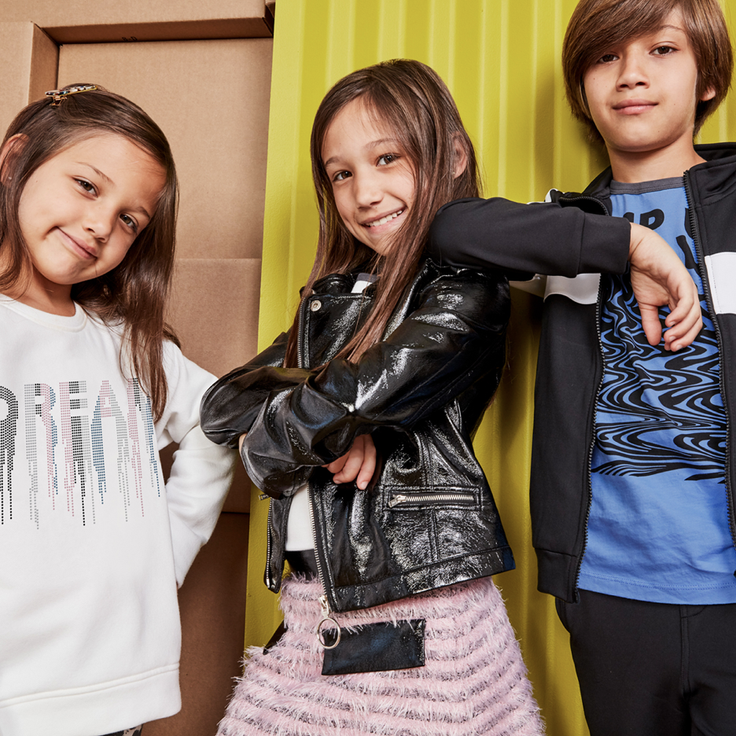 2 girls and boy in cool kidpik outfits