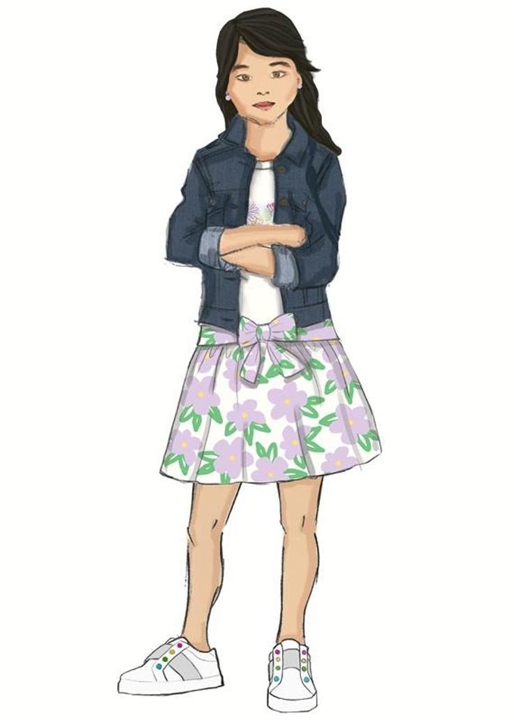 drawing of girl in kidpik clothing