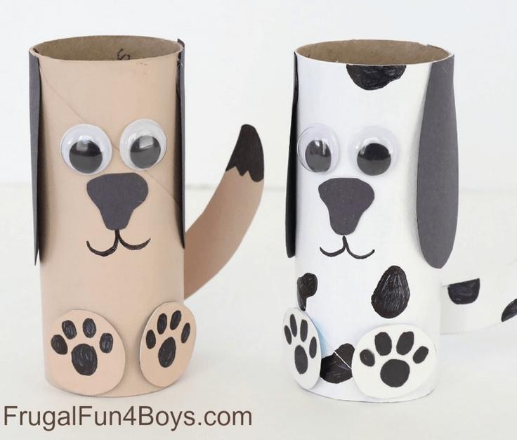 Cardboard rolls colored like dogs
