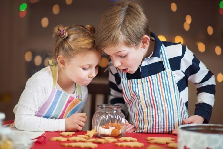 Kids making Sugar Cookies