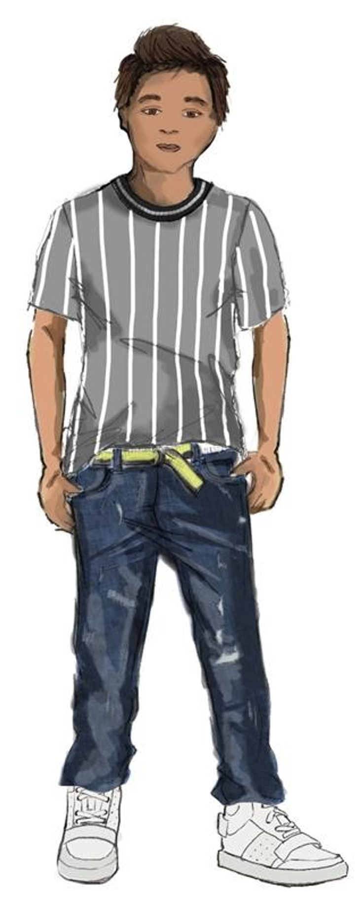 drawing of boy in kids clothes