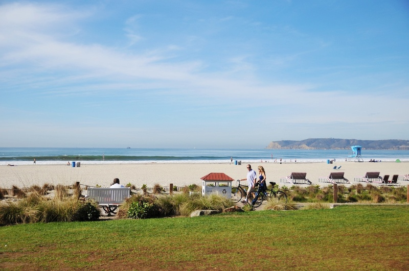 People enjoying the San Diego beach front