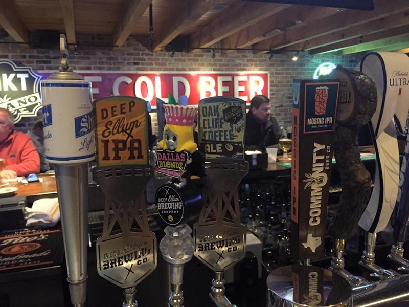 beer taps at Deep Ellum Brewing