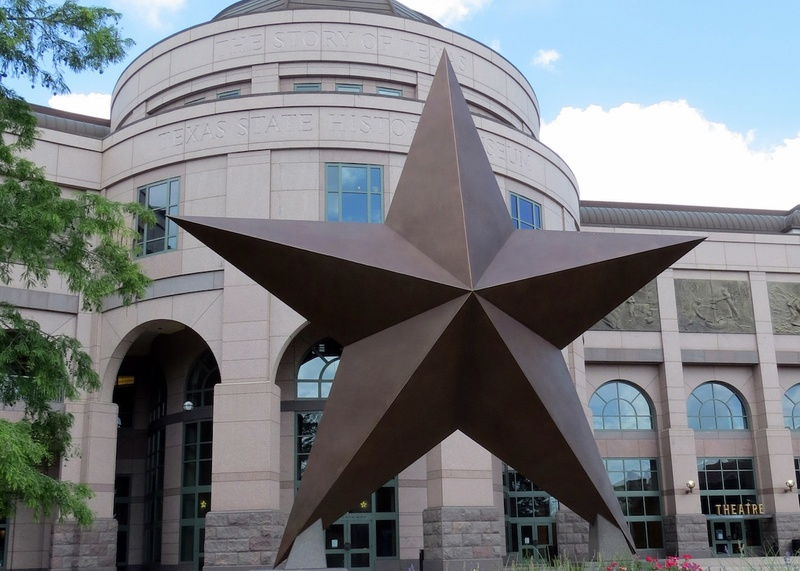 large star landmark outside the Bullock Texas State History Museum in Austin