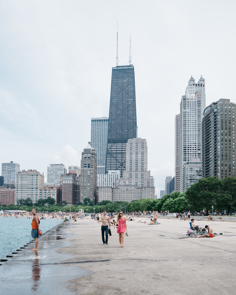 Oak Street Beach in Chicago's Gold Coast neighborhood.