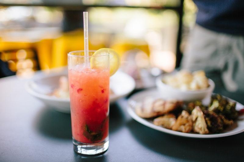 A drink garnished with lemon
