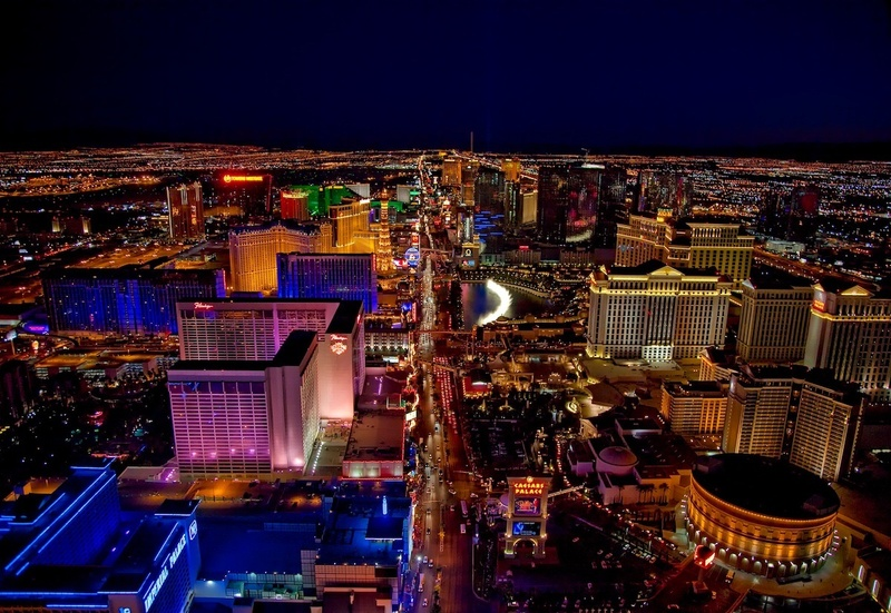 An aerial view of the Vegas Strip